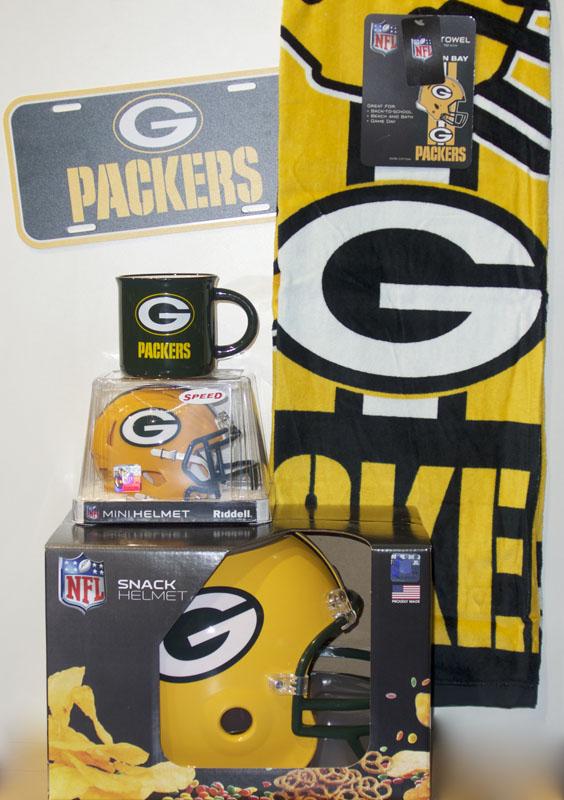 Green Bay Packers Snackhelm, Mini Helm, Tasse, Duschtuch und Schild
