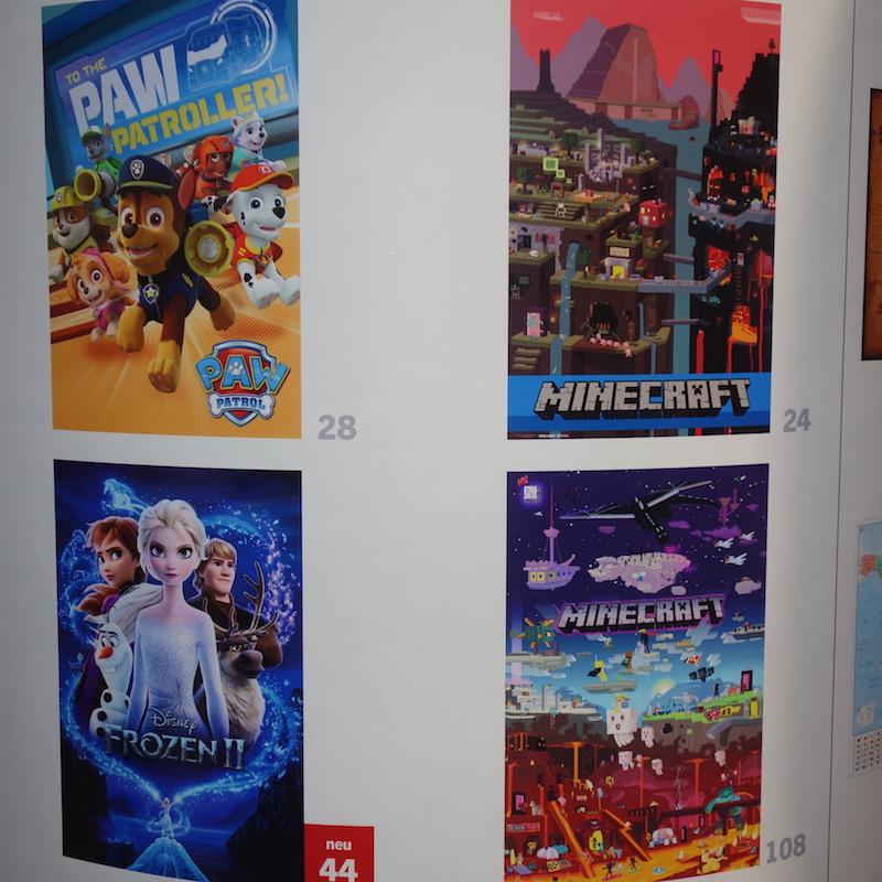 mehrere Poster Paw Patrol, Frozen, Minecraft